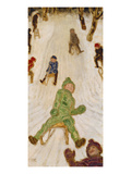 Children Sledging, 1914 Giclee Print by Franz von Stuck
