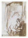 Saskia in Bed with Nurse, rendered in Watercolour Prints by  Rembrandt van Rijn