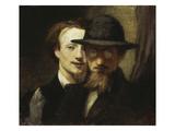 Double-Portrait of Marées / Lenbach, 1863 Giclee Print by Hans Marées