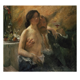 Self-Portrait with His Wife and Sekt Glass, 1902 Giclee Print by Lovis Corinth