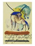 Pferd, 1913. Auf Postkarte an Else Lasker-Schueler Giclee Print by Franz Marc