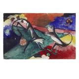 Zwei Affen, 1913. Tusche/Aquarell/Deckfarben Auf Postkarte an Else Lasker-Schueler Giclee Print by Franz Marc