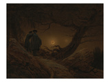 Two Men Looking at the Moon, 1819/1820 Poster by Caspar David Friedrich