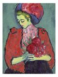Girl with Peonies, 1909 Giclee-trykk av Alexej Von Jawlensky