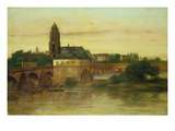 View of Frankfurt Am Main from Sachsenhausen, with the Old Bridge, 1858 Giclee Print by Gustave Courbet