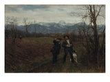 Leibl and Sperl Hunting, about 1890 Giclee Print by Johann Sperl