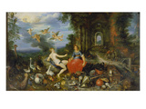 Fire and Air. (Brueghel and Frans Francken the Younger) Giclee Print by Jan Bruegel the Younger