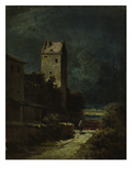 Nocturnal Landscape with Night Watchman, about 1875/80 Gicleetryck av Carl Spitzweg