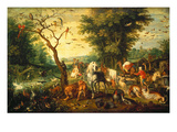 Noah Guiding the Animals onto the Ark Giclee Print by Jan Bruegel the Elder