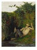 Faun Blowing a Whistle to a Blackbird, 1863 Giclee Print by Arnold Bocklin