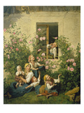 Children Blowing Bubbles, 1842 Giclee Print by Ferdinand Georg Waldmüller