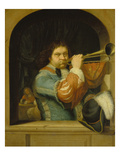 A Trumpet Player, 1672 Prints by Frans Van Mieris