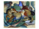 Horse Jumping, 1913 Art by Franz Marc