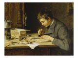 Sohn Franz Beim Holzschneiden, um 1895 Giclee Print by Wilhelm Marc