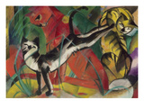 Three Cats, 1913 Reproduction procédé giclée par Franz Marc