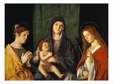 Maria Mit Dem Kind Zwischen Zwei Heiligen Print by Giovanni Bellini