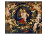 Virgin and Child in a Garland. the Garland by Jan Brueghel D.Ae. (1568-1625), about 1616/17 Giclee Print by Peter Paul Rubens
