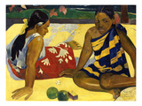 Two Woman of Tahiti. Parau Api (What&#39;s New) 1892 Reproduction proc&#233;d&#233; gicl&#233;e par Paul Gauguin