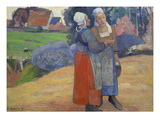 Breton Peasant Women Having a Conversation, 1894 Giclee Print by Paul Gauguin