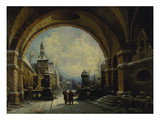 Castle Courtyard in Winter Giclee Print by August Wilhelm Sohn