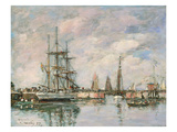 Norwegian Three-Masted Ship in the Harbour of Deauville, 1897 Giclee Print by Eugène Boudin