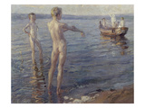 Bathing Boys (Summer Evening at the Lake), 1904 Giclee Print by Christian Landenberger