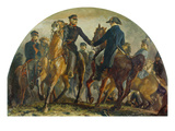 Bluecher and Wellington Meet after the Battle of Belle-Alliance (Waterloo) Giclee Print by Adolph von Menzel