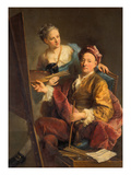 Self-Portrait with Daughter Maria Antonia, 1760 Giclee Print by Georg Desmarées