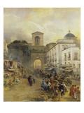 Street in Naples (Porta Capuana), 1875 Giclee Print by Oswald Achenbach