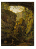 The Grotto of St. Fancis on Monte Verna Prints by Jacob-Philippe Hackert