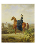 Countess Caroline Waldbott Von Bassenheim on Horseback in Front of Castle Leutstetten Giclee Print by Albrecht Adam