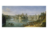 View of the Tiber Island, Rome, 1685 Giclee Print by Gaspar van Wittel