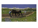 The Plough. (L'Aratura), 1887/1890 Giclee Print by Giovanni Segantini