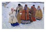 Russische Familie Beim Winterlichen Kirchgang, 1909 Giclee Print by Sergej Iwanow