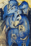 Tower of the Blue Horses, 1913 (Postcard to Else Lasker-Schueler) Giclee Print by Franz Marc