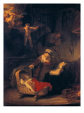 The Holy Family with Angels, 1645 Giclee Print by  Rembrandt van Rijn