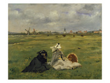 The Artist's Wife and Mother in the Meadow (Oder: the Swallows), 1873 Giclee Print by Edouard Manet