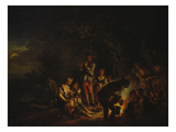 Travelling People by a Camp Fire Giclee Print by Johann Conrad Seekatz
