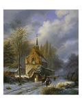 Winterlandschaft an Einer Kirche Giclee Print by Barend Cornelis Koekkoek