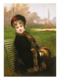 On a Park Bench Giclee Print by Jules-James Rougeron