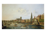 View of the River Thames at York Steps Looking Towards Westminster Abbey Giclee Print by William James