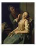 Schlafendes Maedchen Giclée-tryk af Pietro Antonio Rotari