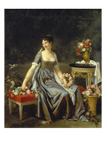Portrait of a Lady, Surrounded by Flowers Giclee Print by Marguerite Gerard