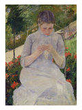 Young Woman Sewing in the Garden, ca. 1880/82 Giclee Print by Mary Cassatt