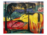Three Horses, 1913 Poster by Franz Marc