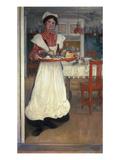 Martina Brings Breakfast Giclée-tryk af Carl Larsson