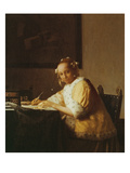 A Lady Writing, about 1665 Giclee Print by Jan Vermeer
