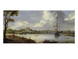 View from North-East onto Greenwich-Palace, with an Anchored Warship Giclee Print by Adriaen van Stalbemt