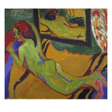 Reclining Nude in Front of Mirror, 1909/10 Giclee Print by Ernst Ludwig Kirchner