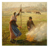 Peasant Woman Burning Branches Giclee Print by Camille Pissarro